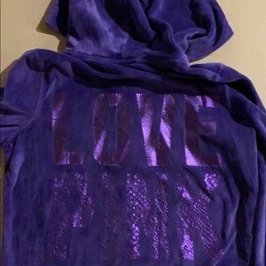 Victoria's Secret pink velour hoodie medium